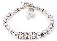 Personalized cancer awareness bracelet sterling silver