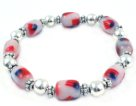 Patriotic Stretchy Bracelet with Oval Flag glass & Sterling Silver Plated beads